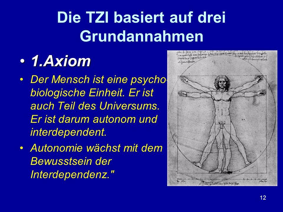 12 Die TZI basiert auf drei Grundannahmen 1.Axiom1.Axiom Der Mensch ist eine psycho- biologische Einheit. Er ist auch Teil des Universums. Er ist daru