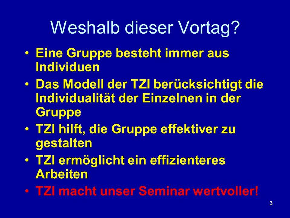 3 Weshalb dieser Vortag? Eine Gruppe besteht immer aus Individuen Das Modell der TZI berücksichtigt die Individualität der Einzelnen in der Gruppe TZI