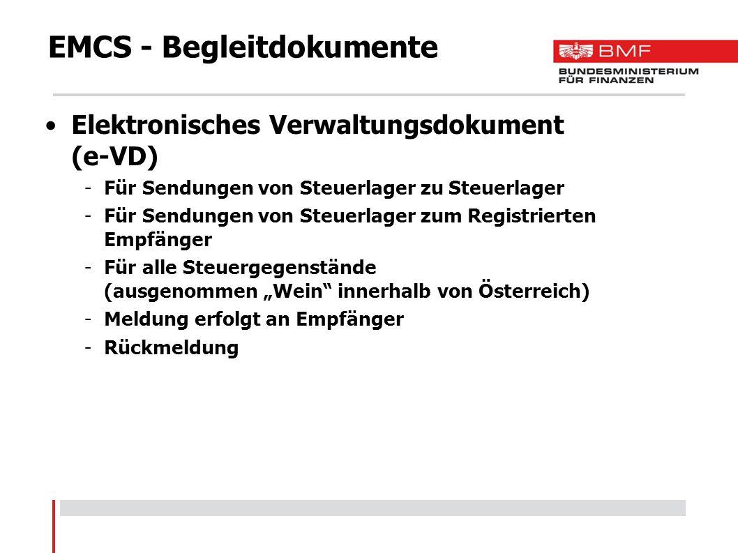 EMCS - Begleitdokumente Elektronisches Verwaltungsdokument (e-VD) -Für Sendungen von Steuerlager zu Steuerlager -Für Sendungen von Steuerlager zum Reg
