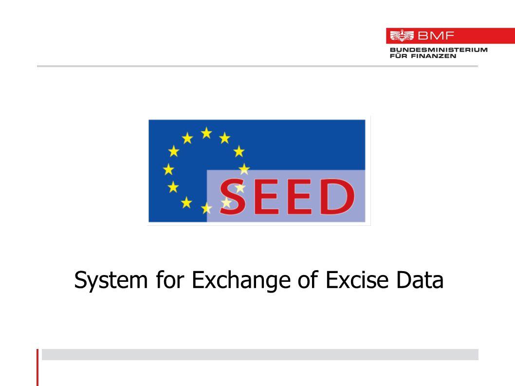 SEED - Allgemeines Zentrale Verbrauchsteuerdatenbank Datenaustausch der 28 Mitgliedstaaten mit der Europäischen Kommission Datenaustausch erfolgt über CCN/CSI -CCN/CSI = Netzwerk der EU