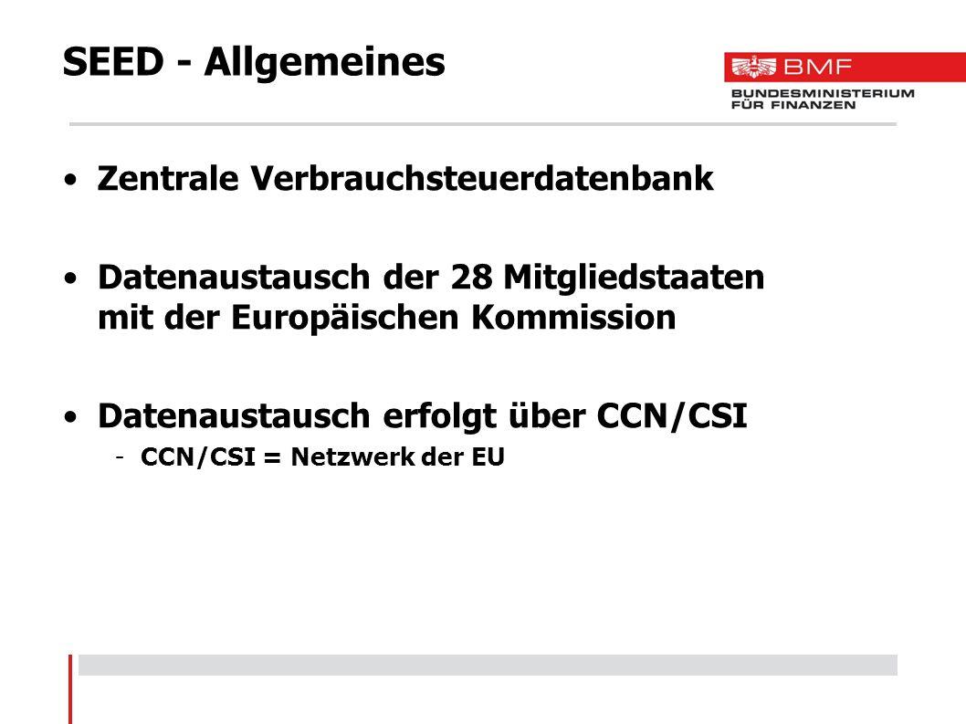 SEED - Allgemeines Grunddatenbank für EMCS und EVA EMCS -Excise Movement and Control System (Elektronisches System für e-VDs und e-Versandanzeigen) EVA -Elektronische Verbrauchsteueranmeldung