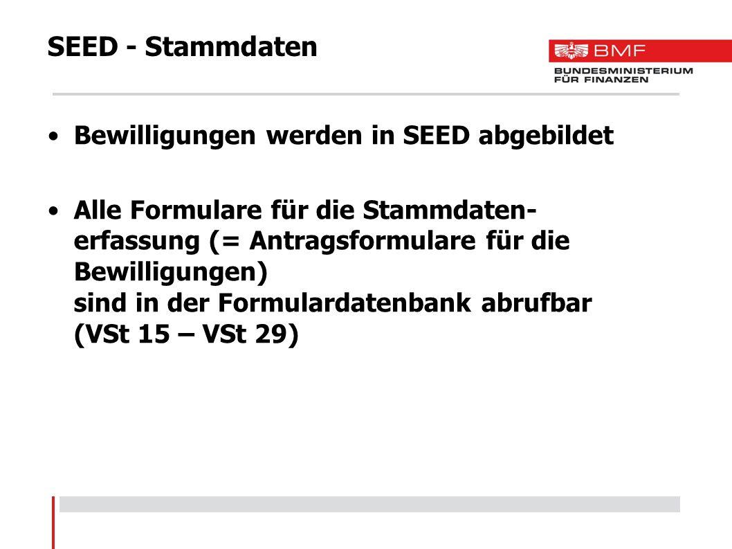 SEED - International Erfassung der internationalen Daten -Steuerlagerinhaber -Steuerlager -Herstellungsbetrieb -Lagerbetrieb -Verschlussbrennerei -Registrierter Empfänger -Registrierter Empfänger im Einzelfall -Registrierter Versender Vergabe der VID-Nummer (ATV.....) Datenaustausch mit EU