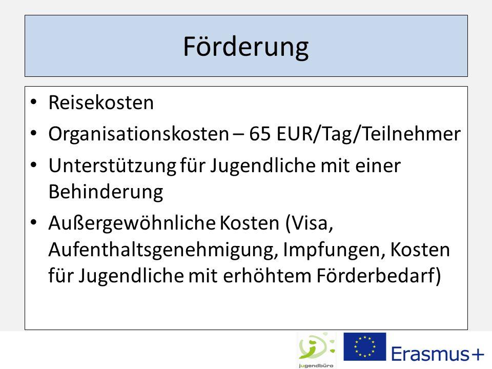 Förderung Reisekosten Organisationskosten – 65 EUR/Tag/Teilnehmer Unterstützung für Jugendliche mit einer Behinderung Außergewöhnliche Kosten (Visa, A