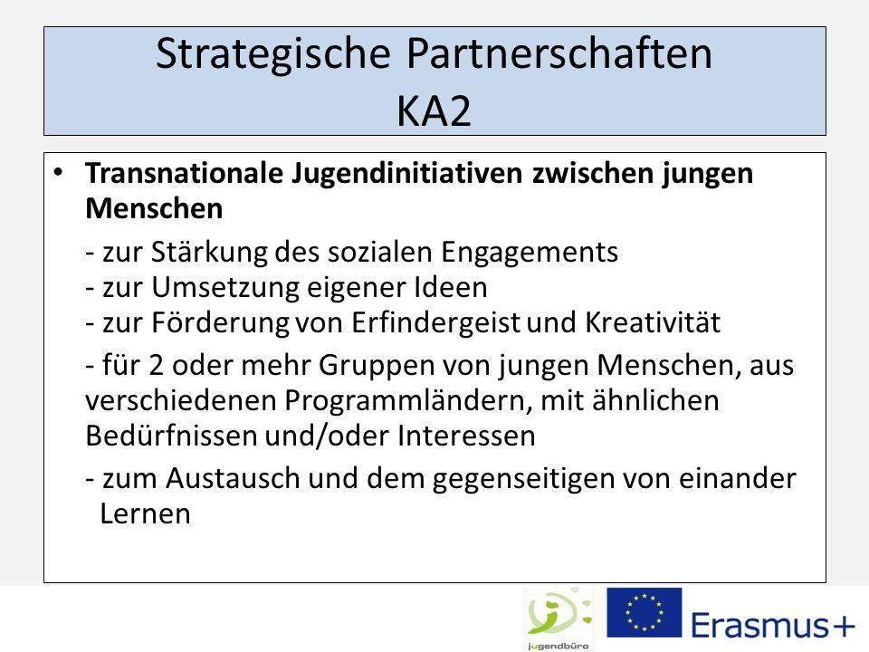 Strategische Partnerschaften KA2 Transnationale Jugendinitiativen zwischen jungen Menschen - zur Stärkung des sozialen Engagements - zur Umsetzung eig