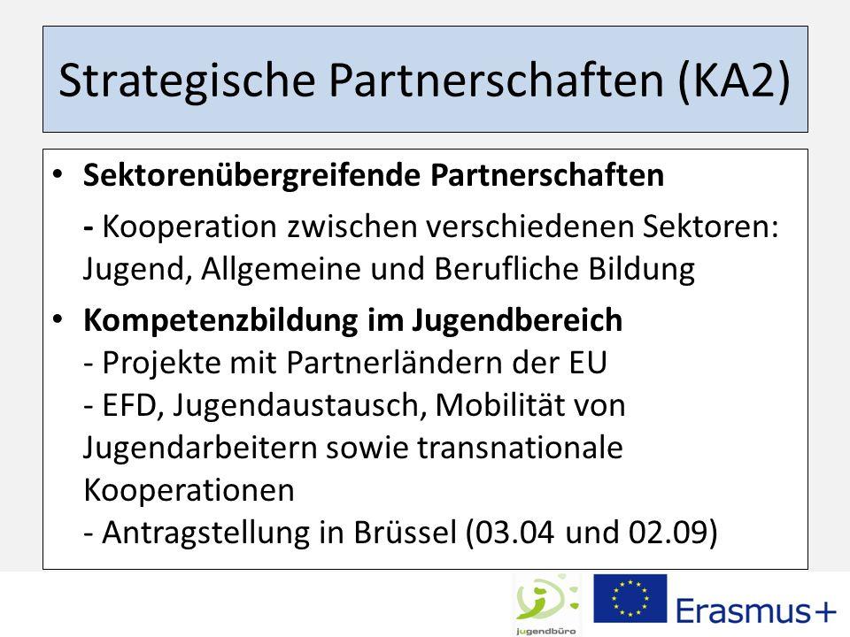 Strategische Partnerschaften (KA2) Sektorenübergreifende Partnerschaften - Kooperation zwischen verschiedenen Sektoren: Jugend, Allgemeine und Berufli