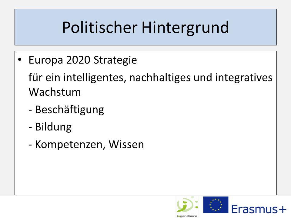 Politischer Hintergrund Europa 2020 Strategie für ein intelligentes, nachhaltiges und integratives Wachstum - Beschäftigung - Bildung - Kompetenzen, W