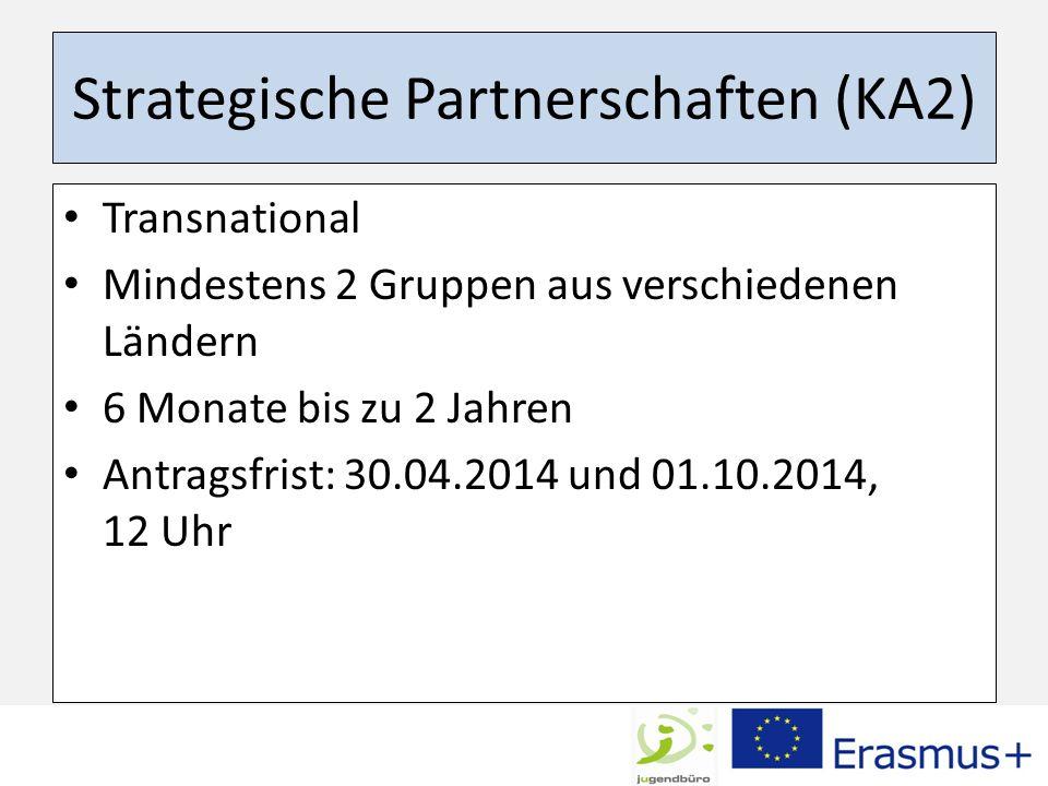 Strategische Partnerschaften (KA2) Transnational Mindestens 2 Gruppen aus verschiedenen Ländern 6 Monate bis zu 2 Jahren Antragsfrist: 30.04.2014 und