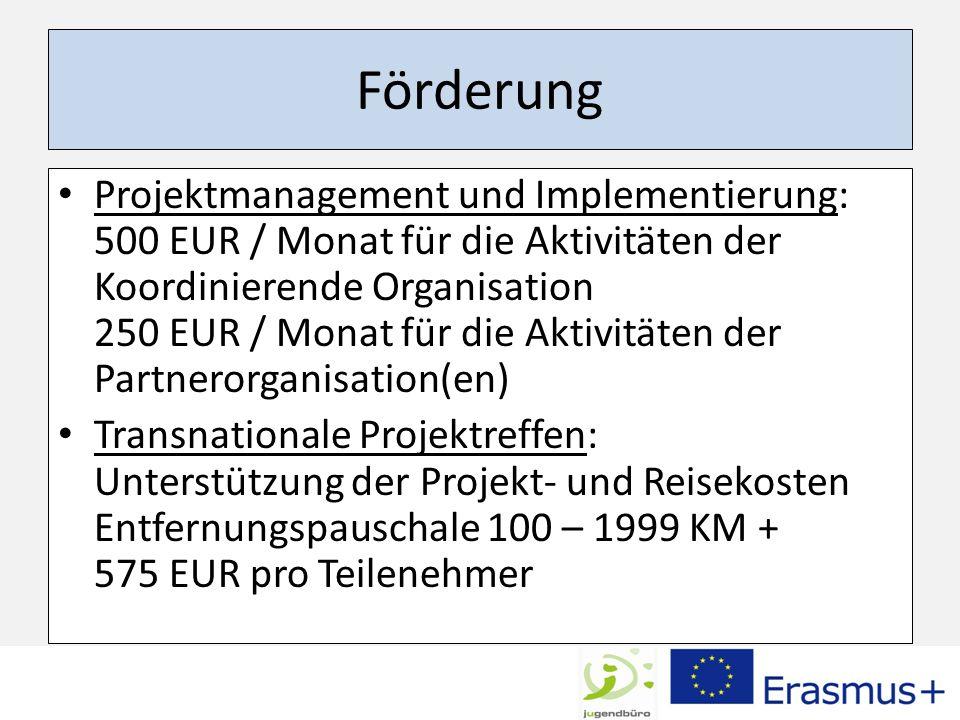 Förderung Projektmanagement und Implementierung: 500 EUR / Monat für die Aktivitäten der Koordinierende Organisation 250 EUR / Monat für die Aktivität