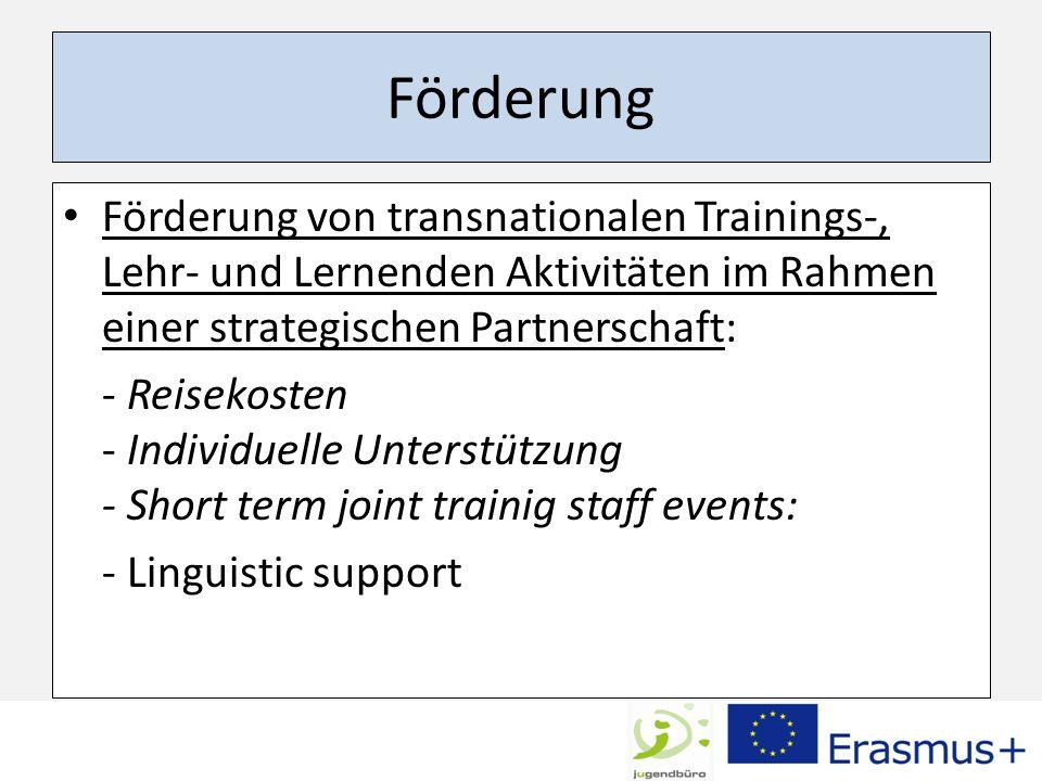 Förderung Förderung von transnationalen Trainings-, Lehr- und Lernenden Aktivitäten im Rahmen einer strategischen Partnerschaft: - Reisekosten - Indiv
