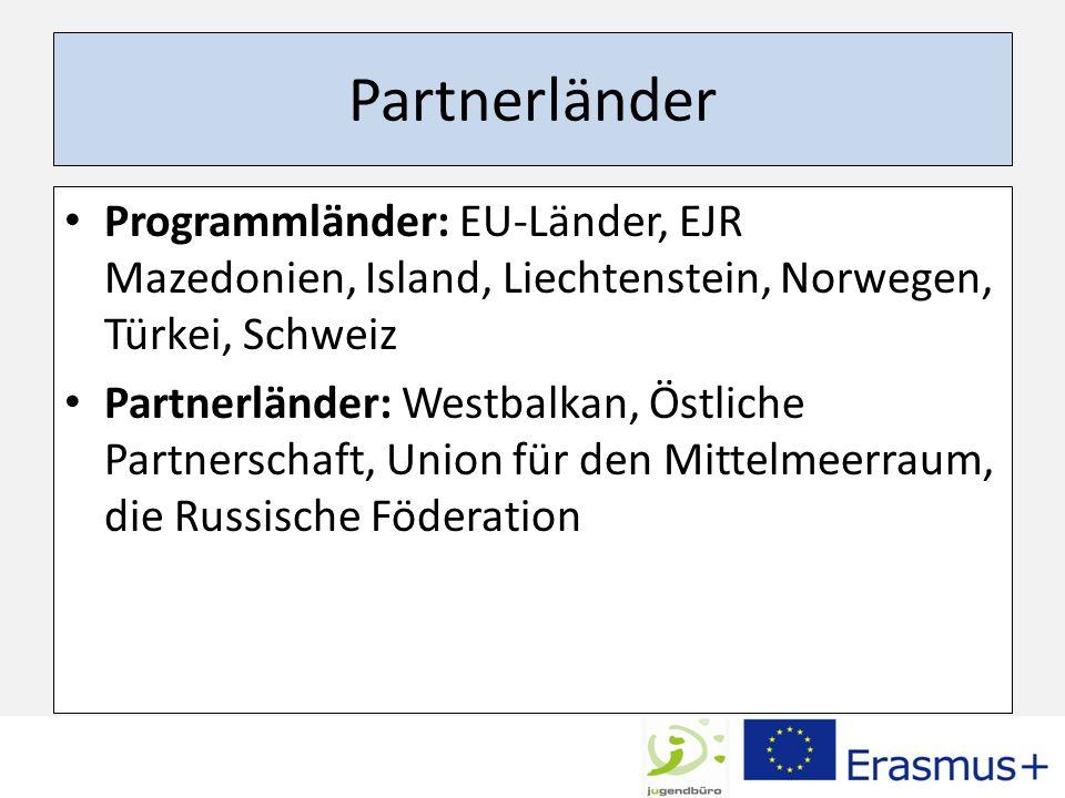 Partnerländer Programmländer: EU-Länder, EJR Mazedonien, Island, Liechtenstein, Norwegen, Türkei, Schweiz Partnerländer: Westbalkan, Östliche Partners