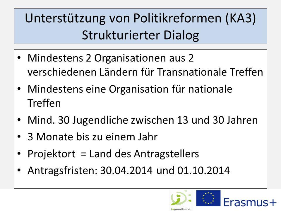 Unterstützung von Politikreformen (KA3) Strukturierter Dialog Mindestens 2 Organisationen aus 2 verschiedenen Ländern für Transnationale Treffen Minde
