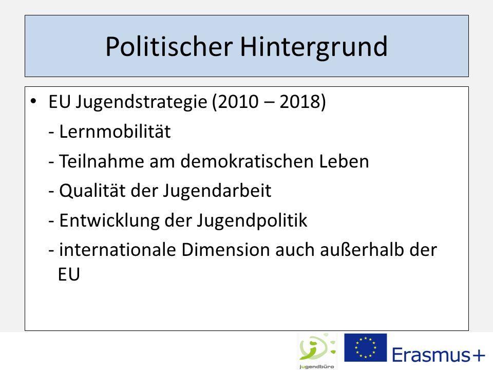 Politischer Hintergrund EU Jugendstrategie (2010 – 2018) - Lernmobilität - Teilnahme am demokratischen Leben - Qualität der Jugendarbeit - Entwicklung