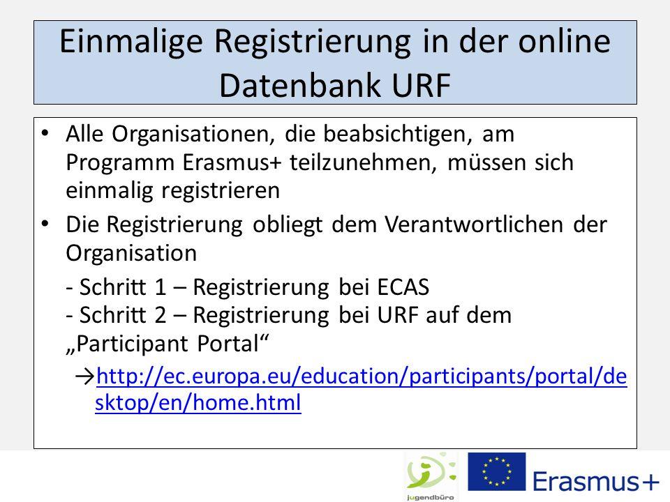 Einmalige Registrierung in der online Datenbank URF Alle Organisationen, die beabsichtigen, am Programm Erasmus+ teilzunehmen, müssen sich einmalig re