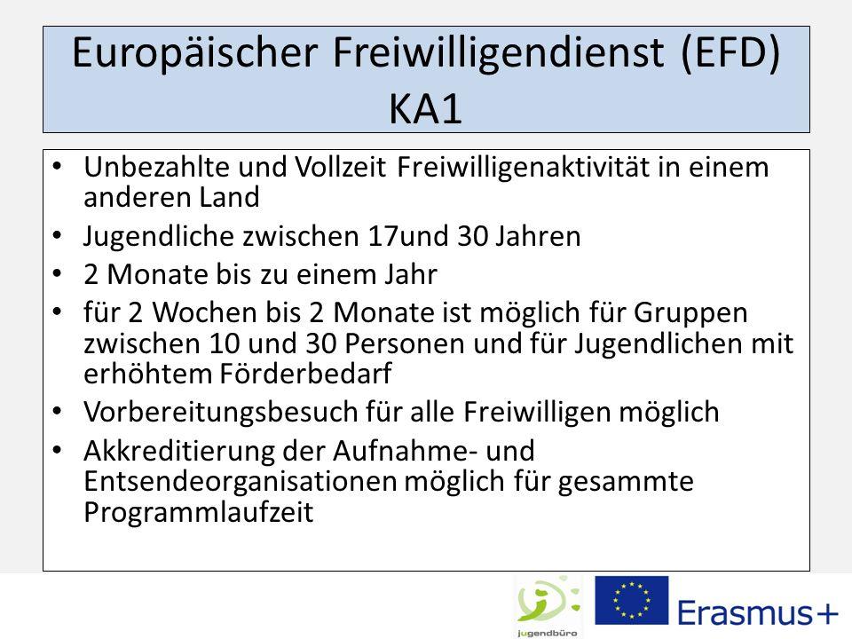 Europäischer Freiwilligendienst (EFD) KA1 Unbezahlte und Vollzeit Freiwilligenaktivität in einem anderen Land Jugendliche zwischen 17und 30 Jahren 2 M