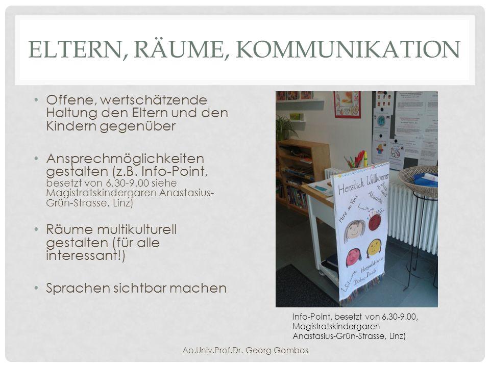 ELTERN, RÄUME, KOMMUNIKATION Räume multikulturell gestalten (für alle interessant!) Ao.Univ.Prof.Dr.