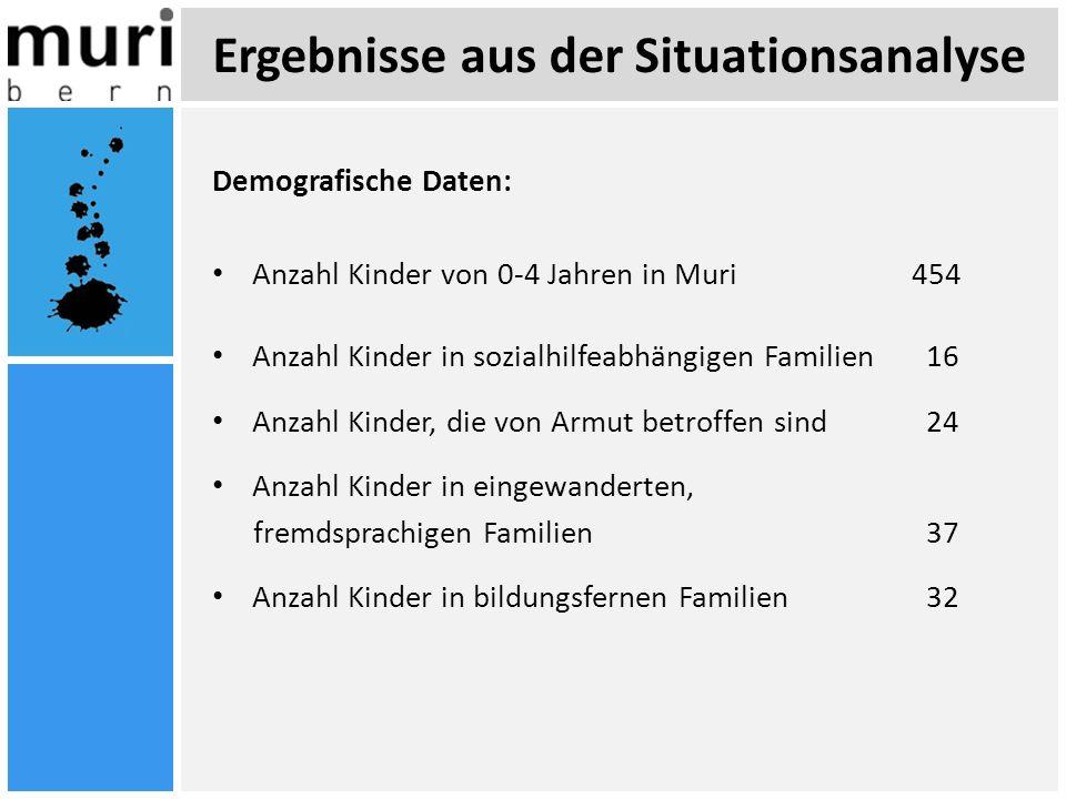 Ergebnisse aus der Situationsanalyse Demografische Daten: Anzahl Kinder von 0-4 Jahren in Muri454 Anzahl Kinder in sozialhilfeabhängigen Familien 16 A