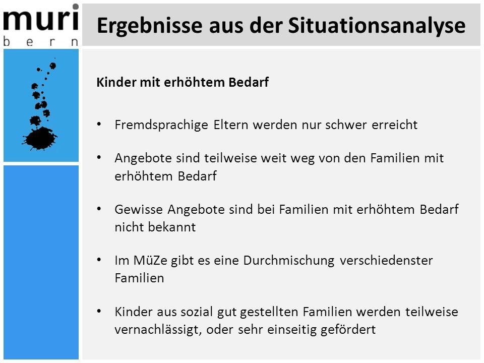 Ergebnisse aus der Situationsanalyse Kinder mit erhöhtem Bedarf Fremdsprachige Eltern werden nur schwer erreicht Angebote sind teilweise weit weg von