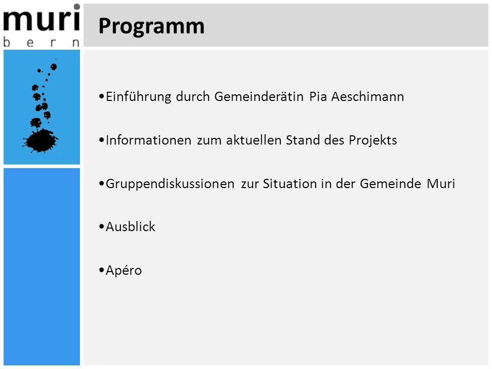 Programm Einführung durch Gemeinderätin Pia Aeschimann Informationen zum aktuellen Stand des Projekts Gruppendiskussionen zur Situation in der Gemeind