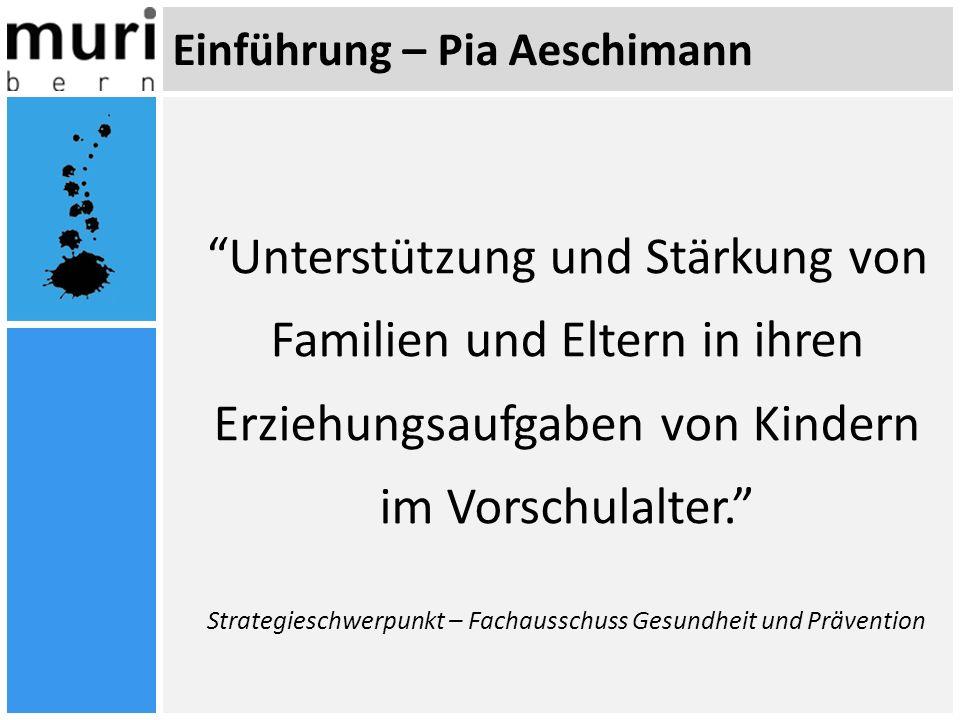 Einführung – Pia Aeschimann Unterstützung und Stärkung von Familien und Eltern in ihren Erziehungsaufgaben von Kindern im Vorschulalter. Strategieschw