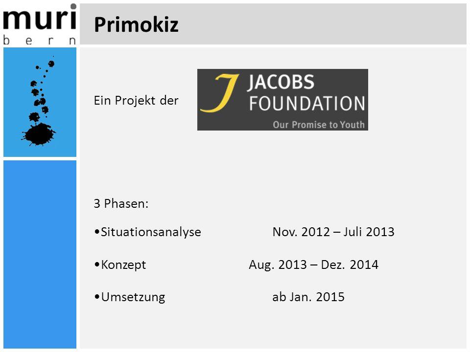 Primokiz Ein Projekt der 3 Phasen: Situationsanalyse Nov. 2012 – Juli 2013 Konzept Aug. 2013 – Dez. 2014 Umsetzung ab Jan. 2015