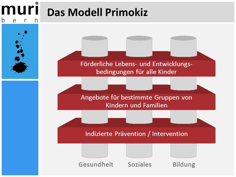 Das Modell Primokiz GesundheitSozialesBildung Förderliche Lebens- und Entwicklungs- bedingungen für alle Kinder Angebote für bestimmte Gruppen von Kin