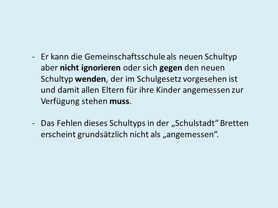 Grundsätzliche Möglichkeiten für Gemeinschaftsschule in Bretten: Hebelschule Schillerschule Max-Planck-Realschule Edith-Stein-Gymnasium Melanchthon-Gymnasium Schillerschule + Realschule Hebelschule + Melanchthon-Gymnasium