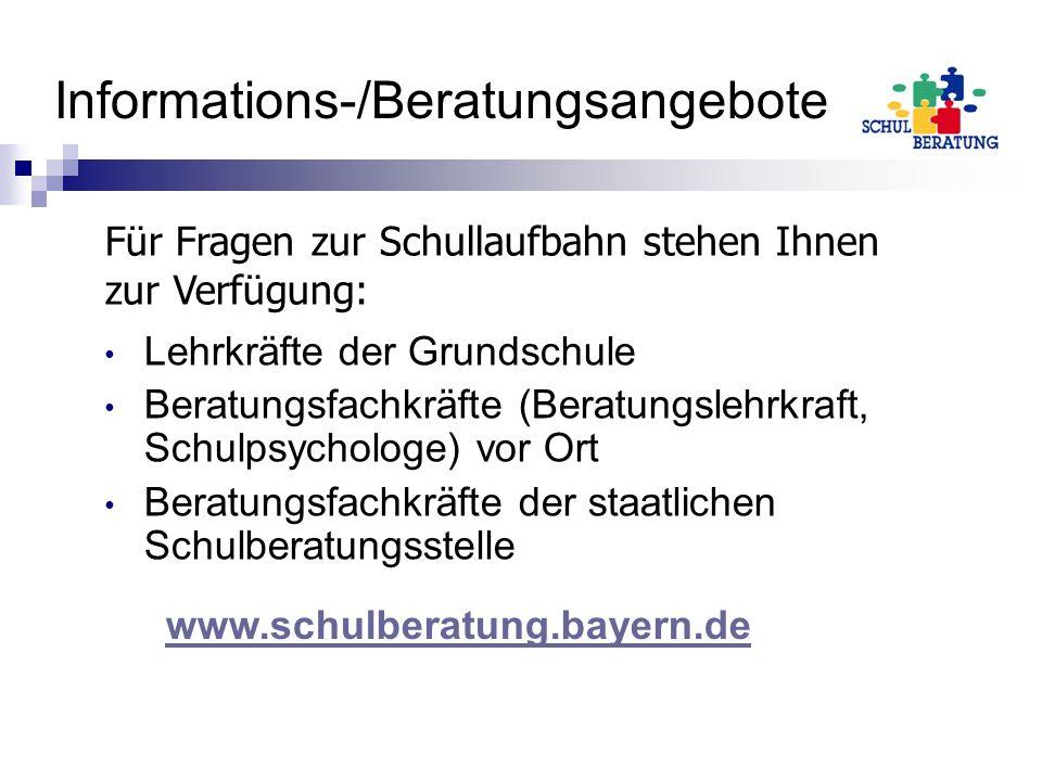 Informations-/Beratungsangebote Lehrkräfte der Grundschule Beratungsfachkräfte (Beratungslehrkraft, Schulpsychologe) vor Ort Beratungsfachkräfte der s