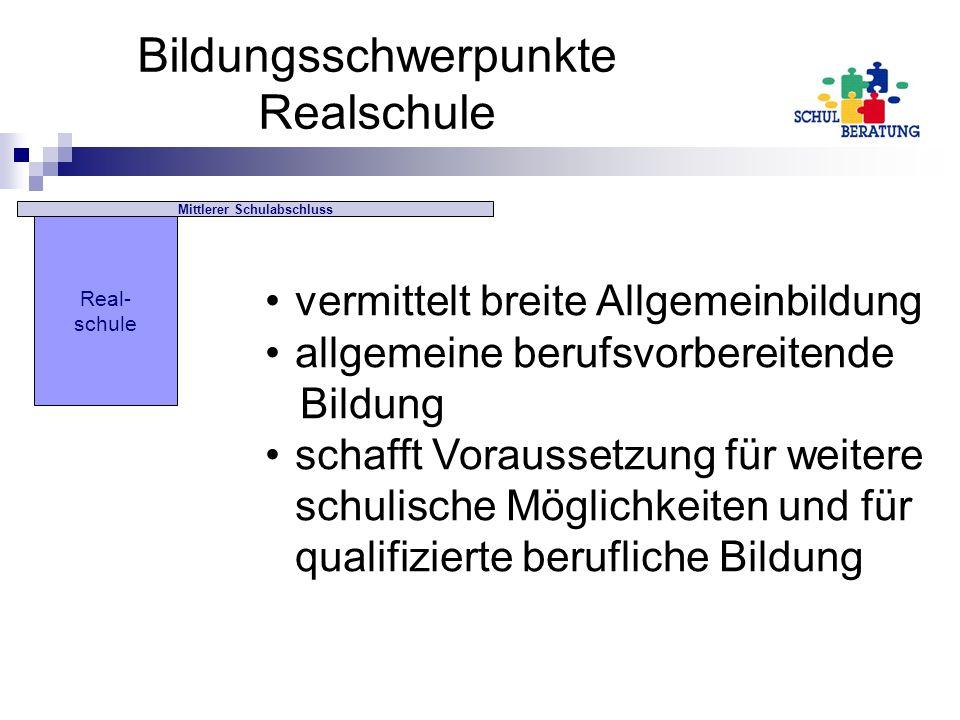 Bildungsschwerpunkte Realschule drei Wahlpflichtfächergruppen: I.