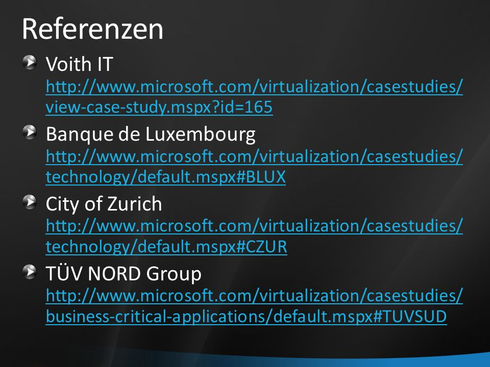 Referenzen Voith IT   view-case-study.mspx id=165   view-case-study.mspx id=165 Banque de Luxembourg   technology/default.mspx#BLUX   technology/default.mspx#BLUX City of Zurich   technology/default.mspx#CZUR   technology/default.mspx#CZUR TÜV NORD Group   business-critical-applications/default.mspx#TUVSUD   business-critical-applications/default.mspx#TUVSUD