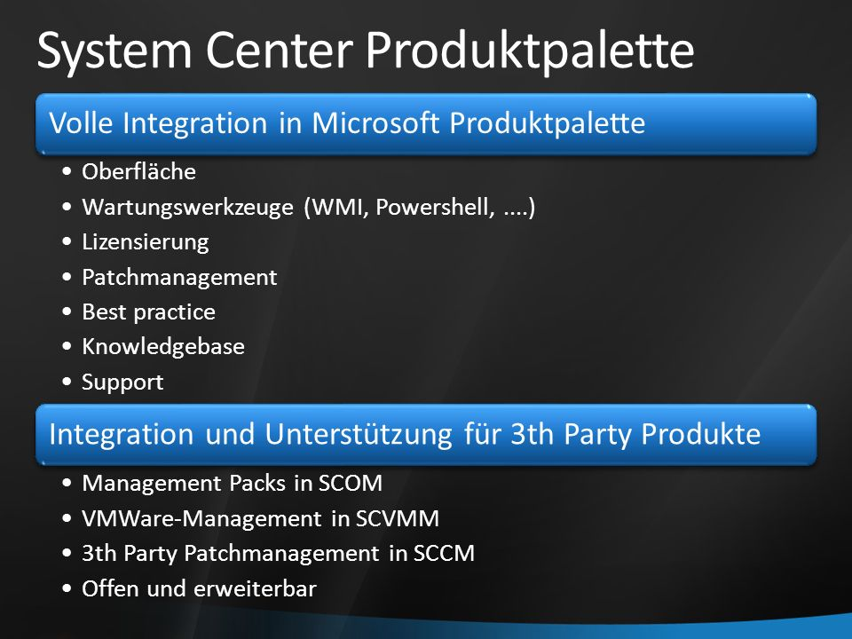 System Center Produktpalette Volle Integration in Microsoft Produktpalette Oberfläche Wartungswerkzeuge (WMI, Powershell,....) Lizensierung Patchmanagement Best practice Knowledgebase Support Integration und Unterstützung für 3th Party Produkte Management Packs in SCOM VMWare-Management in SCVMM 3th Party Patchmanagement in SCCM Offen und erweiterbar
