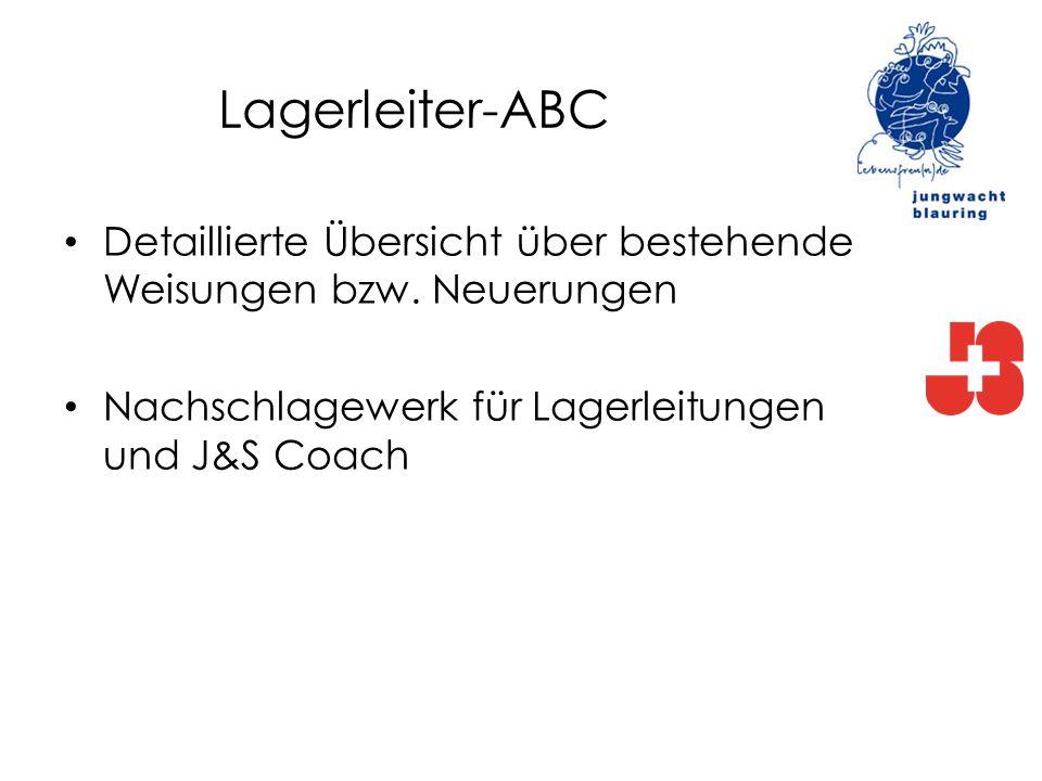 Lagerleiter-ABC Detaillierte Übersicht über bestehende Weisungen bzw. Neuerungen Nachschlagewerk für Lagerleitungen und J&S Coach