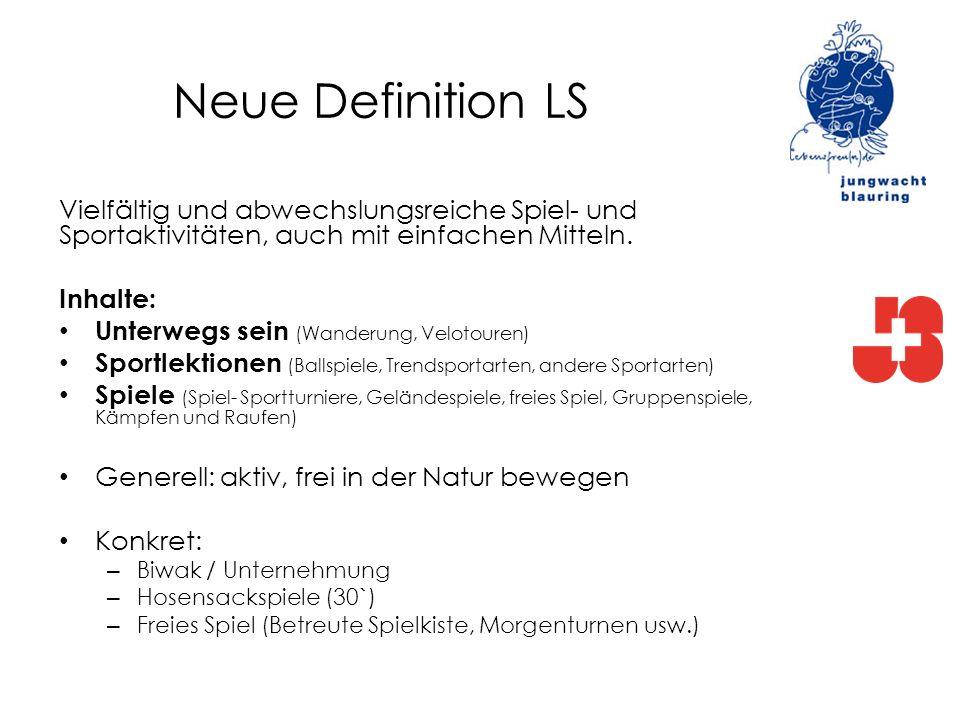 Neue Definition LS Vielfältig und abwechslungsreiche Spiel- und Sportaktivitäten, auch mit einfachen Mitteln. Inhalte: Unterwegs sein (Wanderung, Velo