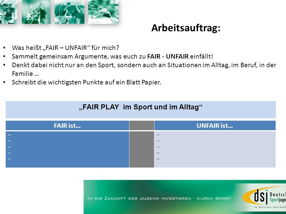 Arbeitsauftrag: Was heißt FAIR – UNFAIR für mich? Sammelt gemeinsam Argumente, was euch zu FAIR - UNFAIR einfällt! Denkt dabei nicht nur an den Sport,