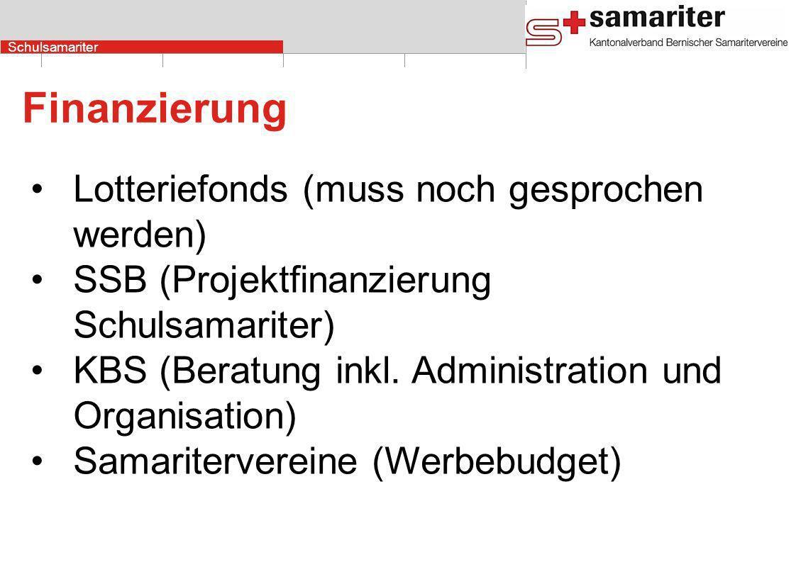 Schulsamariter Finanzierung Lotteriefonds (muss noch gesprochen werden) SSB (Projektfinanzierung Schulsamariter) KBS (Beratung inkl.