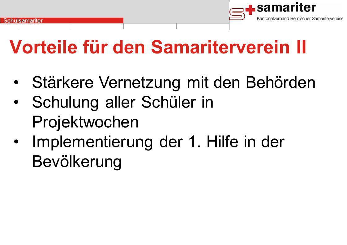 Schulsamariter Vorteile für den Samariterverein II Stärkere Vernetzung mit den Behörden Schulung aller Schüler in Projektwochen Implementierung der 1.