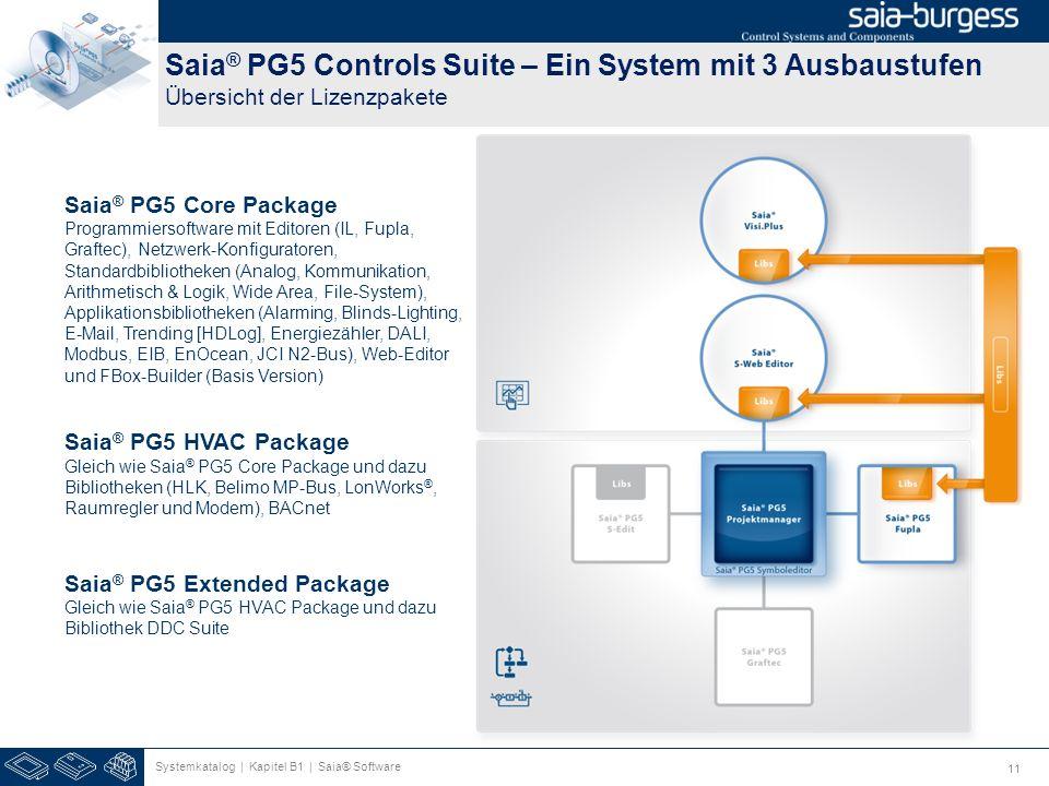 11 Saia ® PG5 Controls Suite – Ein System mit 3 Ausbaustufen Übersicht der Lizenzpakete Systemkatalog | Kapitel B1 | Saia® Software Saia ® PG5 Core Pa