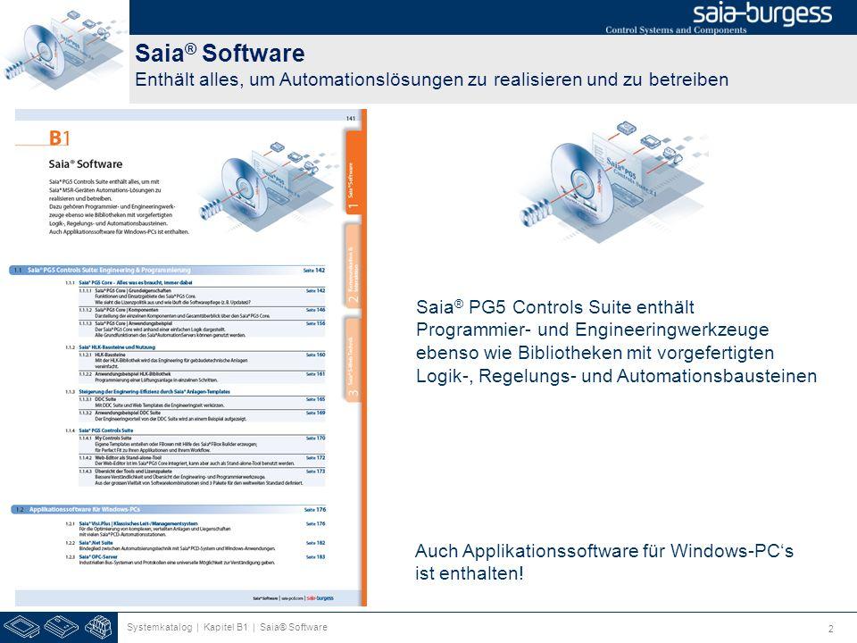 2 Saia ® Software Enthält alles, um Automationslösungen zu realisieren und zu betreiben Systemkatalog | Kapitel B1 | Saia® Software Saia ® PG5 Control
