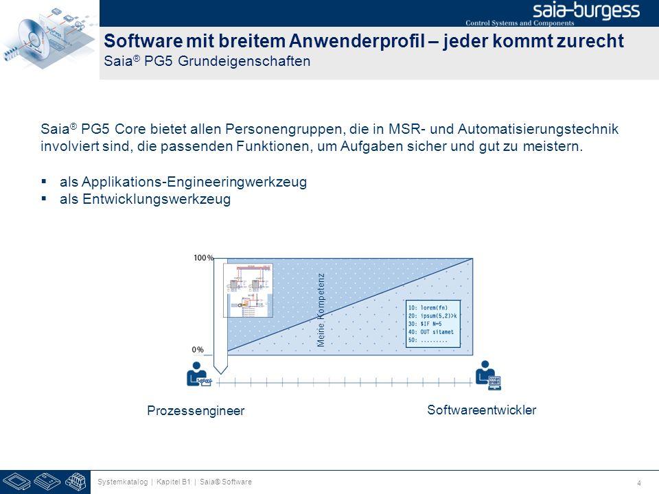 4 Software mit breitem Anwenderprofil – jeder kommt zurecht Saia ® PG5 Grundeigenschaften Systemkatalog | Kapitel B1 | Saia® Software Saia ® PG5 Core
