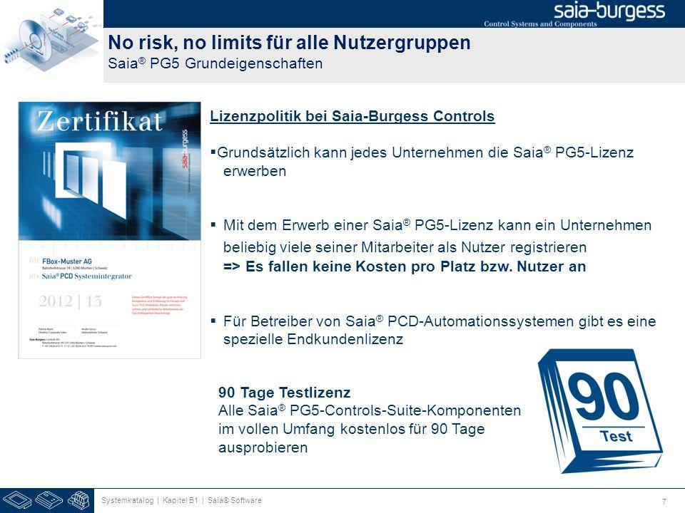 7 No risk, no limits für alle Nutzergruppen Saia ® PG5 Grundeigenschaften Systemkatalog | Kapitel B1 | Saia® Software Lizenzpolitik bei Saia-Burgess C