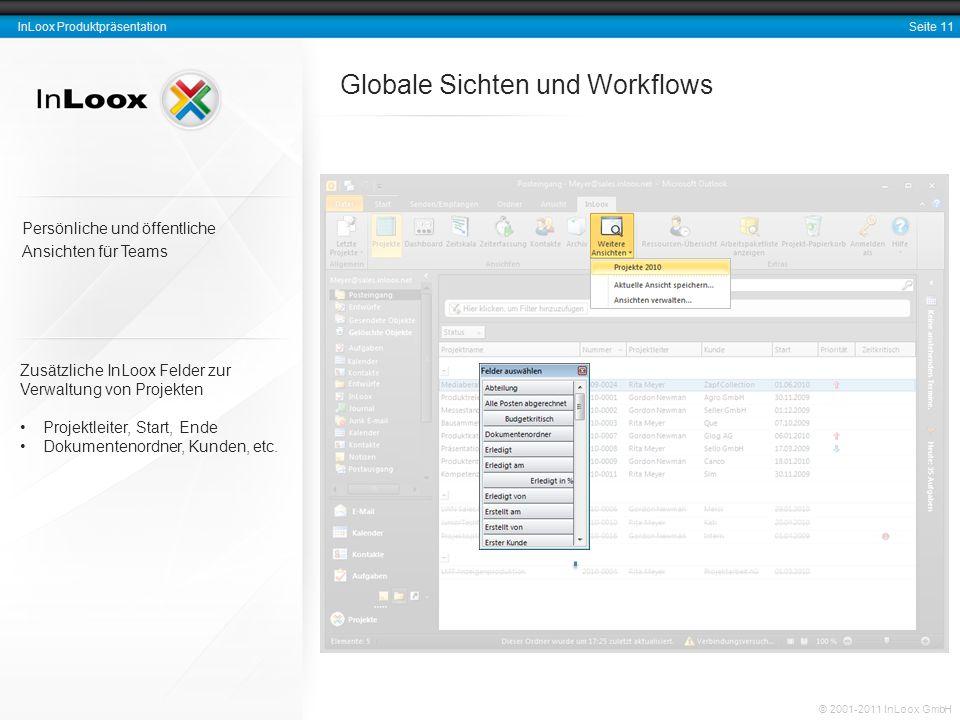 Seite 11 InLoox Produktpräsentation © 2001-2011 InLoox GmbH Globale Sichten und Workflows Zusätzliche InLoox Felder zur Verwaltung von Projekten Proje