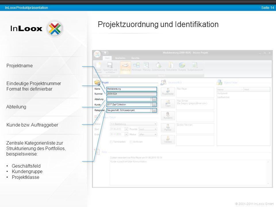 Seite 14 InLoox Produktpräsentation © 2001-2011 InLoox GmbH Projektzuordnung und Identifikation Eindeutige Projektnummer Format frei definierbar Abtei