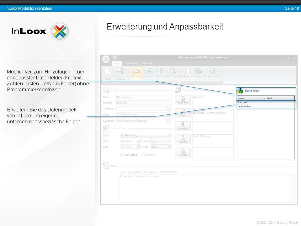 Seite 18 InLoox Produktpräsentation © 2001-2011 InLoox GmbH Erweiterung und Anpassbarkeit Erweitern Sie das Datenmodell von InLoox um eigene, unterneh