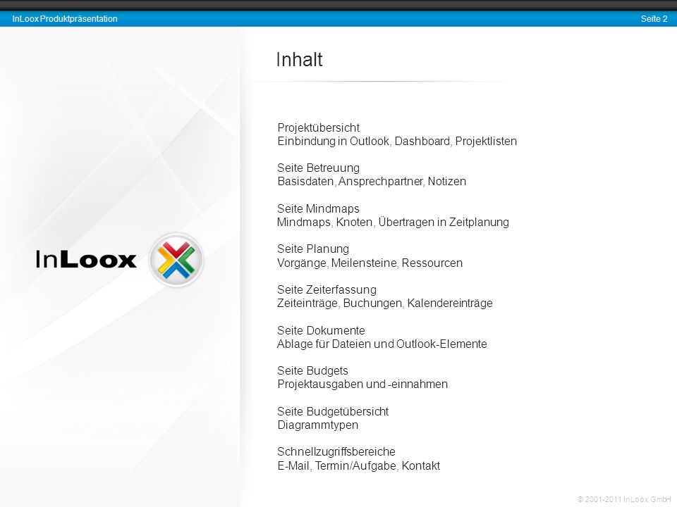 Seite 2 InLoox Produktpräsentation © 2001-2011 InLoox GmbH Projektübersicht Einbindung in Outlook, Dashboard, Projektlisten Seite Betreuung Basisdaten