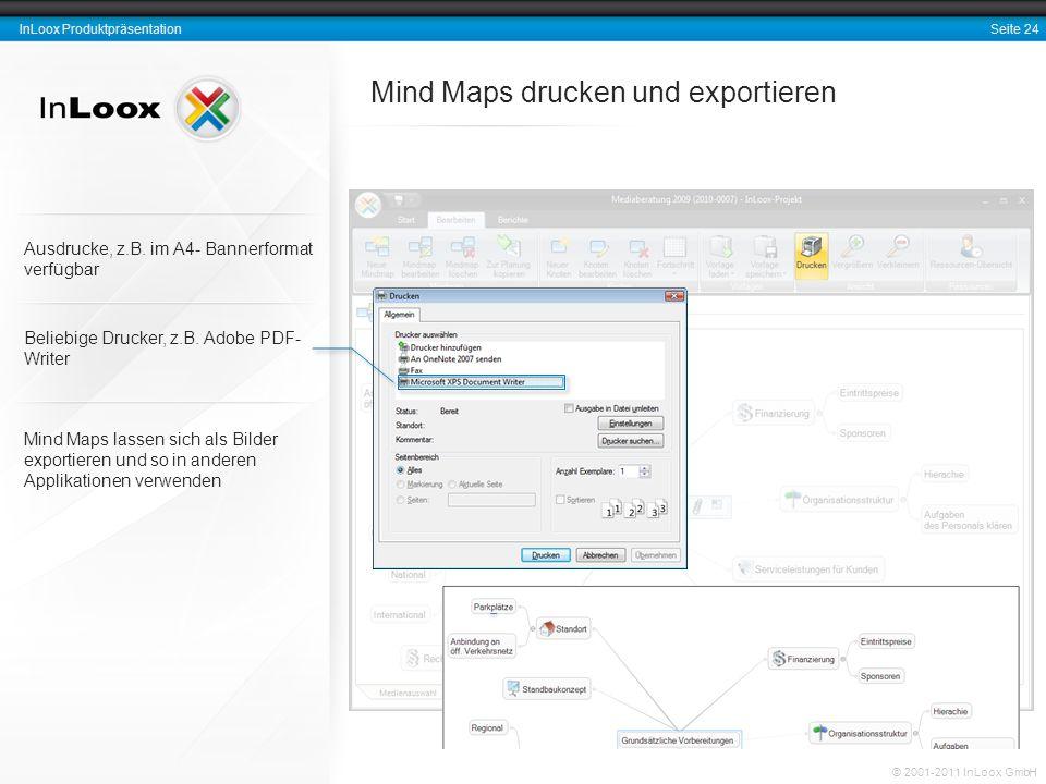 Seite 24 InLoox Produktpräsentation © 2001-2011 InLoox GmbH Mind Maps drucken und exportieren Beliebige Drucker, z.B. Adobe PDF- Writer Mind Maps lass