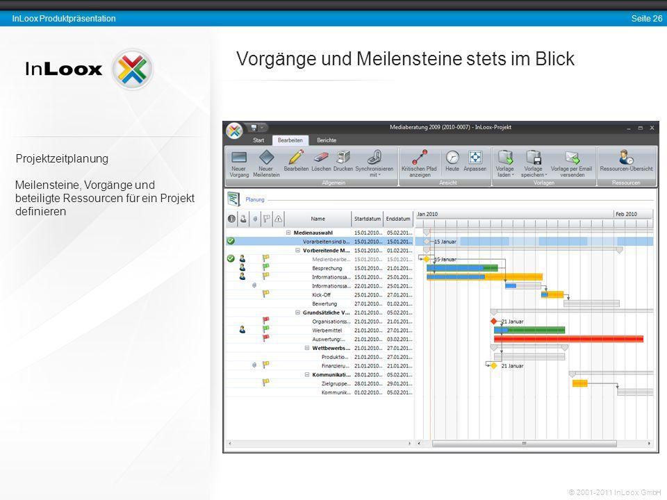 Seite 26 InLoox Produktpräsentation © 2001-2011 InLoox GmbH Vorgänge und Meilensteine stets im Blick Projektzeitplanung Meilensteine, Vorgänge und bet