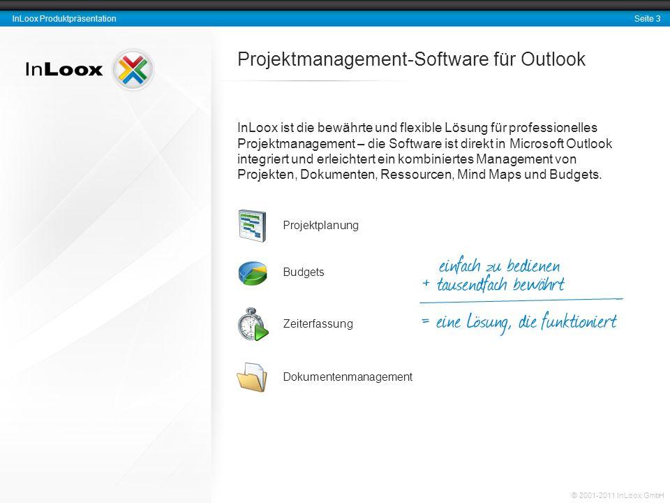 Seite 14 InLoox Produktpräsentation © 2001-2011 InLoox GmbH Projektzuordnung und Identifikation Eindeutige Projektnummer Format frei definierbar Abteilung Kunde bzw.