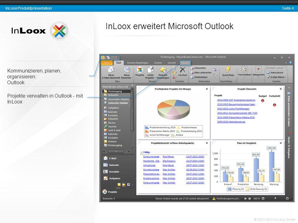 Seite 5 InLoox Produktpräsentation © 2001-2011 InLoox GmbH Schnellzugriff auf die Projektliste Schnellzugriff auf die letzten Projekte aus allen Outlook- Ansichten heraus Dokumente und Vorgänge (Emails, Anhänge, Dateien etc.) direkt aus Outlook-Aufgaben, Kalender und Posteingang erfassen InLoox ist ständig erreichbar mit einem Klick InLoox Menüband