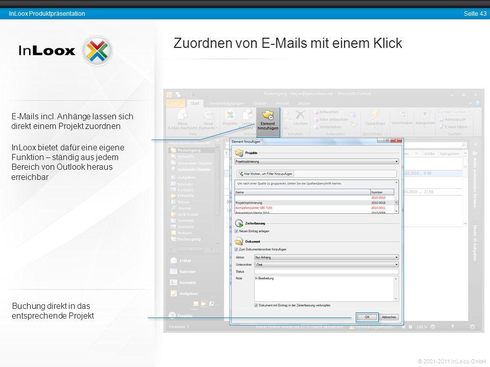 Seite 43 InLoox Produktpräsentation © 2001-2011 InLoox GmbH Zuordnen von E-Mails mit einem Klick Buchung direkt in das entsprechende Projekt E-Mails i