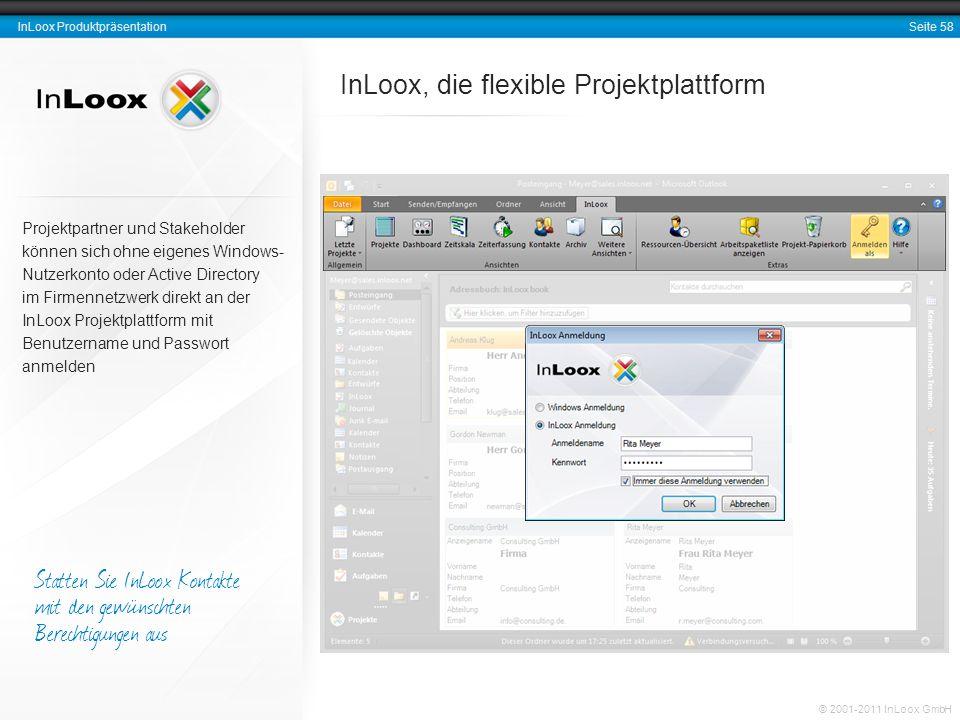 Seite 58 InLoox Produktpräsentation © 2001-2011 InLoox GmbH InLoox, die flexible Projektplattform Projektpartner und Stakeholder können sich ohne eige