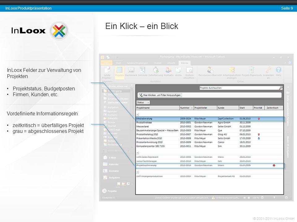 Seite 9 InLoox Produktpräsentation © 2001-2011 InLoox GmbH Ein Klick – ein Blick Vordefinierte Informationsregeln zeitkritisch = überfälliges Projekt